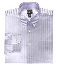 Traveler Tailored Fit Buttondown Collar Wide Stripe Dress Shirt