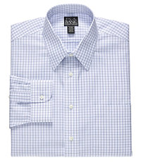 Traveler Tailored Fit Point Collar Pinpoint Plaid Dress Shirt