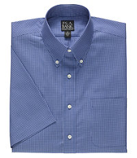 Traveler Short Sleeve Check Buttondown Collar Dress Shirt.