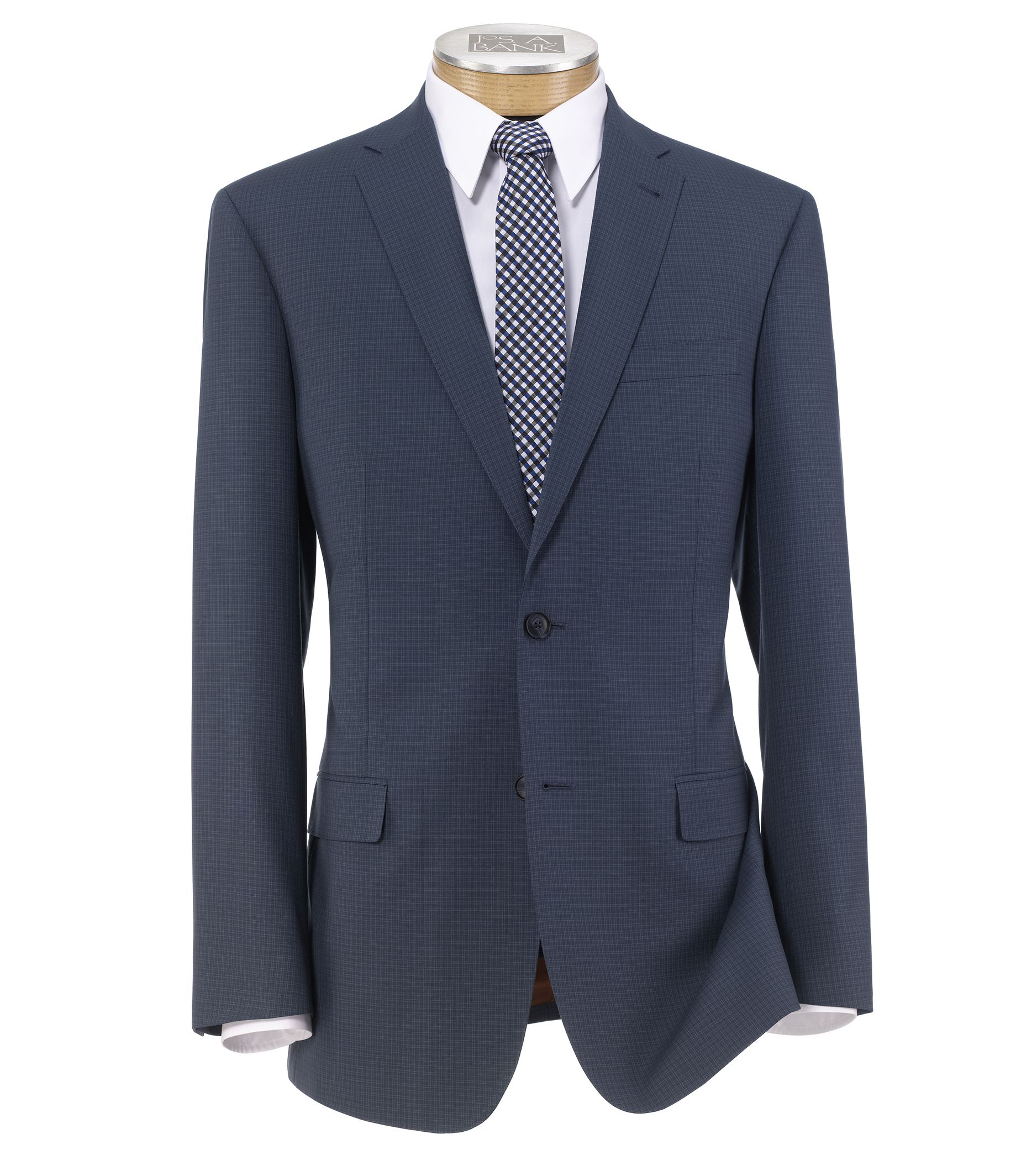 Joseph Slim Fit 2 Button Plain Front Wool Suit - Extended Sizes- Blue Checkered