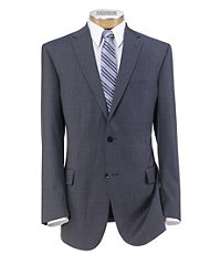 Traveler Tailored Fit 2-Button Suit with Plain Front Trousers- Medium Blue Sharkskin