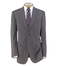 Joseph 2 Button Wool Suit with Plain Front Trousers- Light Grey Stripe