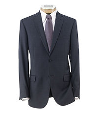 Traveler Tailored Fit 2-Button Suit with Plain Front Trousers- Blue Sharkskin