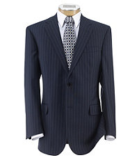 Signature Gold 2-Button Wool Suit- Navy w Blue Stripe