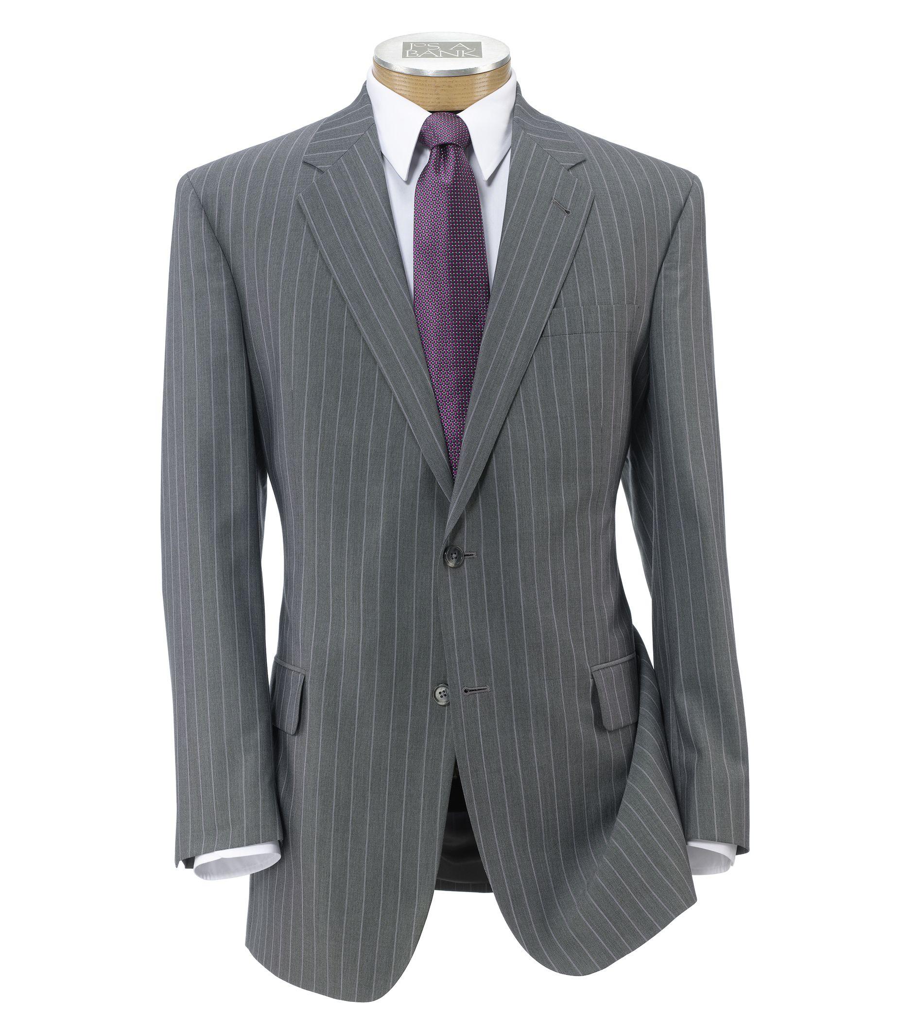 Signature Imperial Wool/Silk Suit with Pleated Trousers- Light Grey Dot