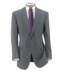 Signature Imperial Wool/Silk Suit with Plain Trousers- Light Grey Dot