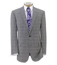 Signature Gold 2-Button 150's Wool Pleated Suit- Black/White Plaid