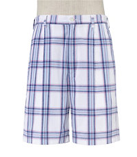Plaid Poplin Pleated Shorts.