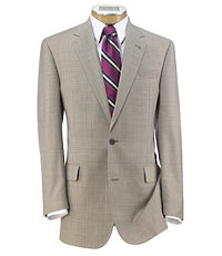 Signature Gold 2-Button Wool Pleated Suit- Tan