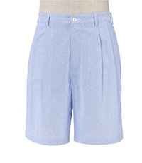 Stays Cool Cotton Pleated Oxford Shorts Extended Sizes