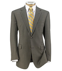 Executive 2-Button Wool Suit with Plain Front Trousers - Taupe Checkered