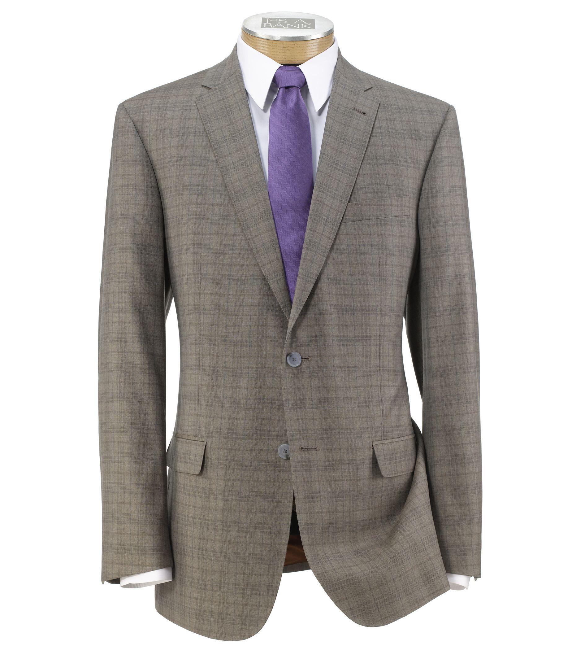 Joseph Slim Fit 2 Button Plain Front Wool Suit- Light Brown Fashion Plaid