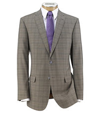 Joseph Slim Fit 2 Button Plain Front Wool Suit- Light Brown Fashion Plaid