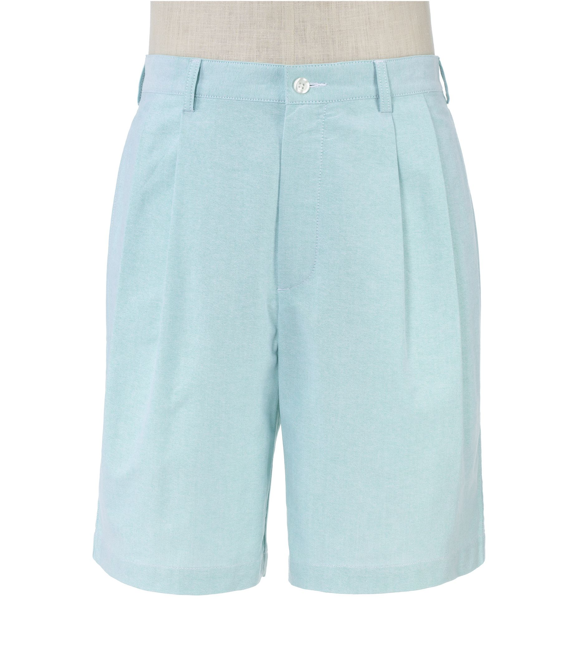 Stays Cool Cotton Pleated Oxford Shorts Extended Sizes.