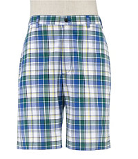 Plaid Poplin Pleated Shorts Extended Sizes