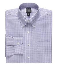 Traveler Tailored Fit Buttondown Collar Check Dress Shirt