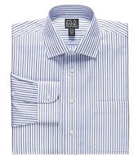 Traveler Tailored Fit Spread Collar Multi Stripe Dress Shirt
