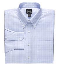 Traveler Tailored Fit Buttondown Collar Plaid Dress Shirt