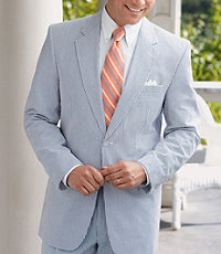 Stays Cool 2-Button Seersucker Suit with Plain Front Trousers Extended Sizes