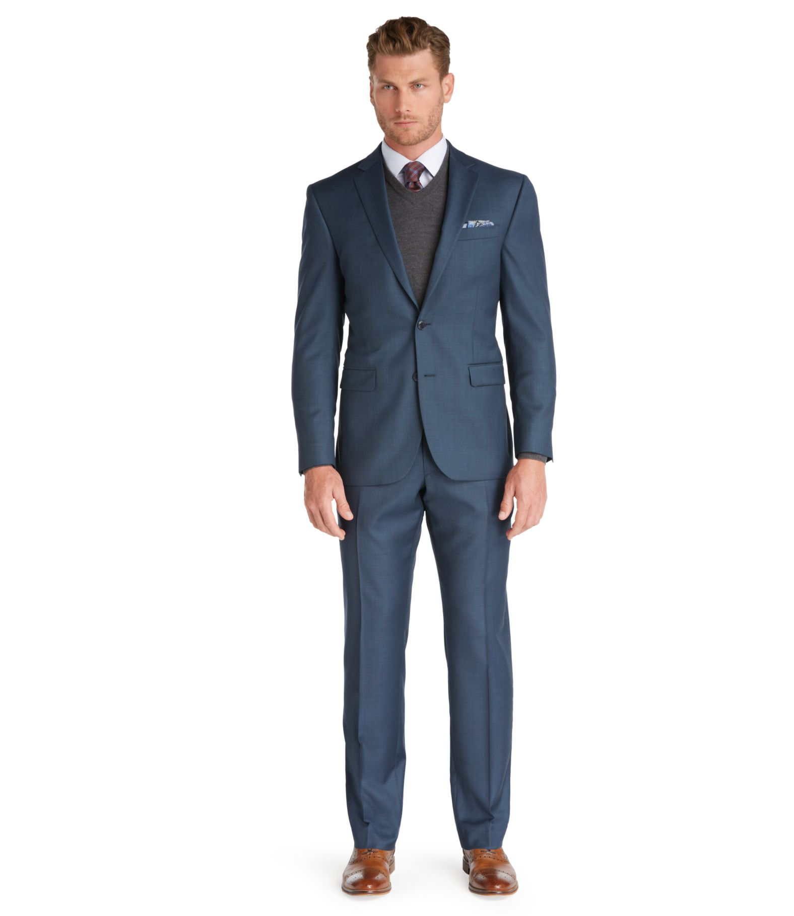 Traveler Collection Slim Fit Sharkskin Suit - Traveler Suits | Jos ...