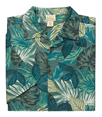 VIP Silk Leaf Jacquard Print Short Sleeve Sportshirt