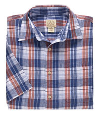 VIP Linen Multi Plaid Short Sleeve Sportshirt