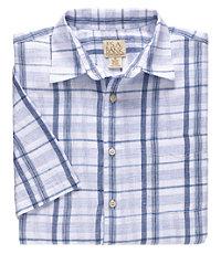 VIP Linen Plaid Short Sleeve Sportshirt