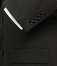 Executive 2-Button Wool Suit with Pleated Front Trousers - Black/Charcoal/Navy Stripe