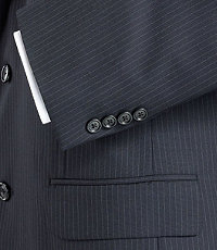 Executive 2-Button Wool Suit with Pleated Front Trousers - Charcoal/Navy Stripe