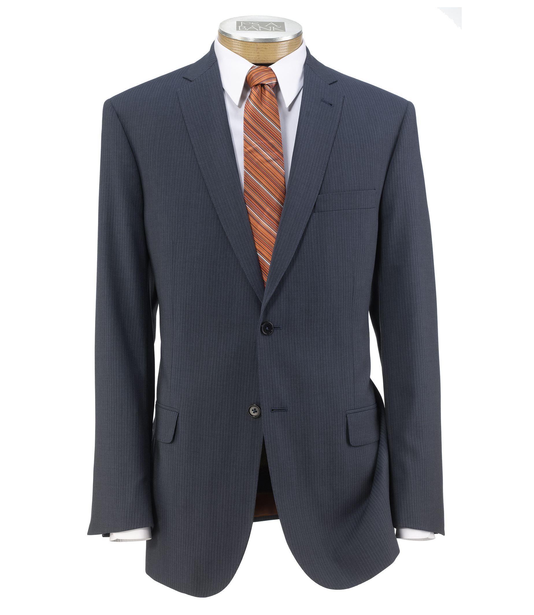 Joseph Slim Fit 2 Button Plain Front Wool Suit Extended Sizes-Mid Blue Pindot Stripe