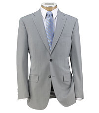 Traveler Tailored Fit 2-Button Suit with Plain Front Trousers- Light Grey/Blue Stripe