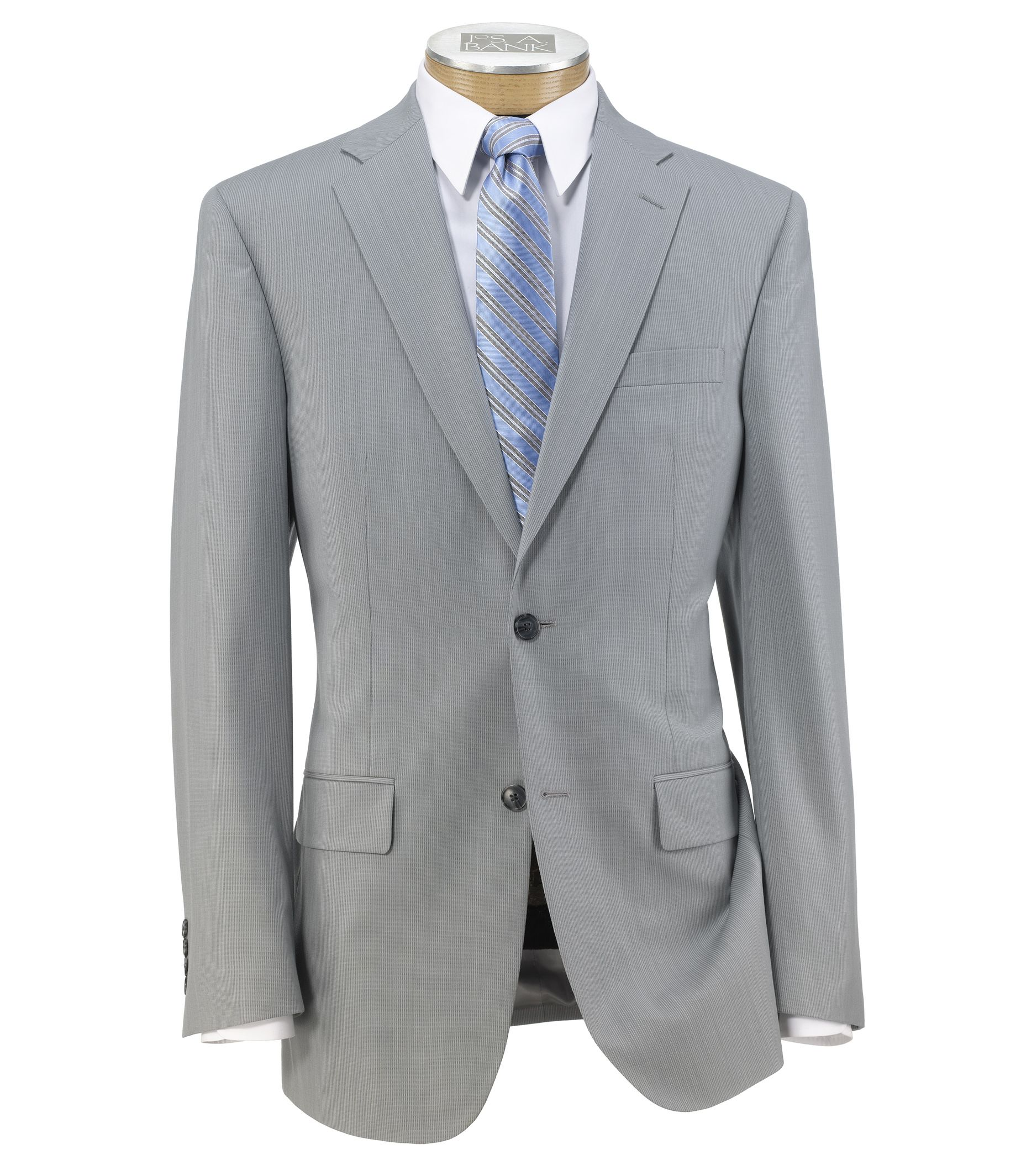 Traveler Tailored Fit 2-Button Suit with Plain Front Trousers Extended Sizes- Light Grey Blue Stripe