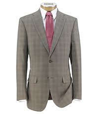 Traveler Tailored Fit 2-Button Suit with Plain Front Trousers Extended Sizes- Taupe Micro-Checkered Plaid