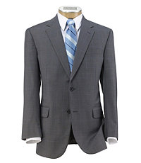 Signature 2-Button Wool Suit with Plain Front Trousers- MidGrey Blue Windowpane