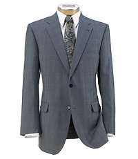 Signature 2-Button Imperial Wool/Silk Blend Suit- Blue Plaid Deco