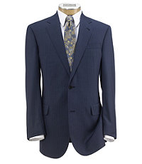 Signature Gold 2-Button Wool Pleated Front Suit- Bright Blue Stripe