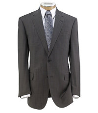 Signature Gold 2-Button Wool Pleated Front Suit- Light Grey Blue Stripe