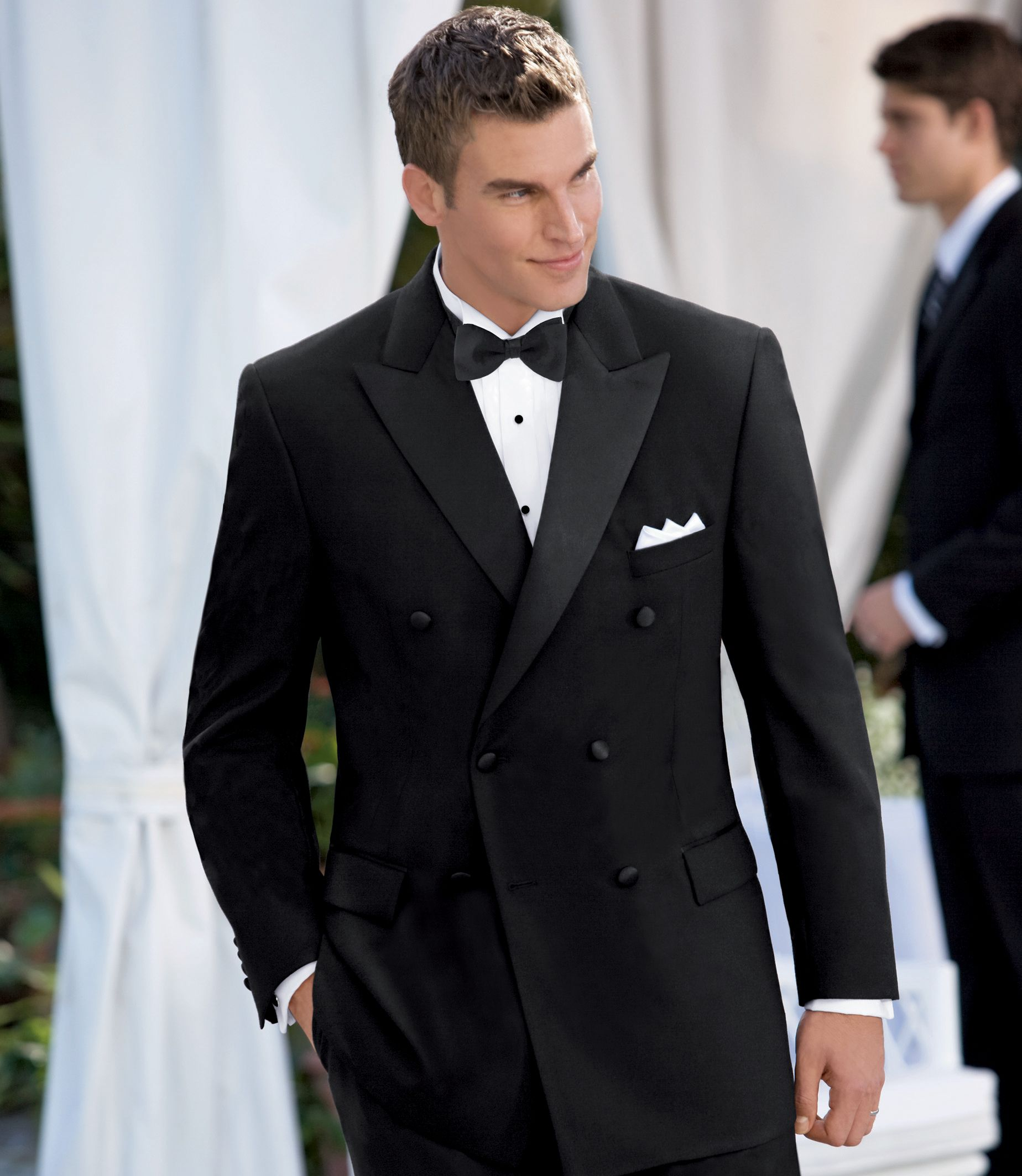 Men's Suit Black Double-Breasted Tuxedo Jacket JoS. A. Bank - BLACK - 46 - LONG