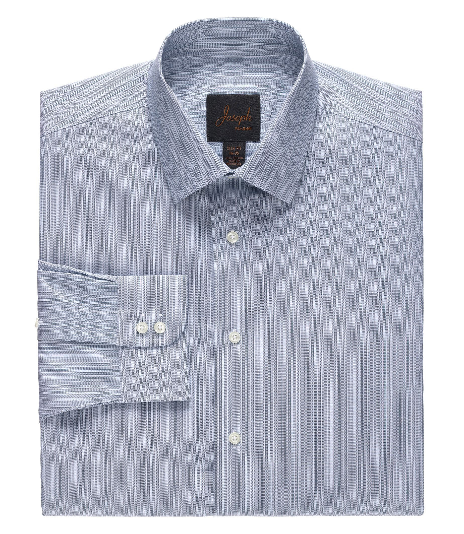 Joseph Spread Collar Slim Fit Muted Stripe Dress Shirt