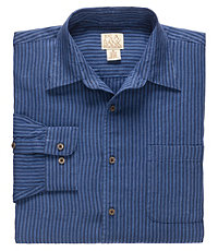VIP Long Sleeve Linen Point Collar Mens Sportshirt CLEARANCE - Large Blue $79.98 AT vintagedancer.com
