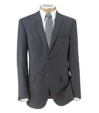 Joseph Slim Fit 2-Button Suits with Plain Front Trousers- Grey Weave Blue Deco