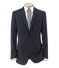 Joseph Slim Fit 2-Button Suits with Plain Front Trousers- Navy/Eggplant Stripe