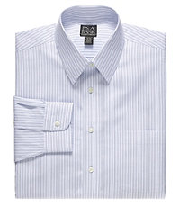 Traveler Tailored Fit Point Collar Variegated Stripe Dress Shirt.