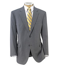 Executive 2-Button Wool Suit with Plain Front Trousers - Light Grey Self Stripe