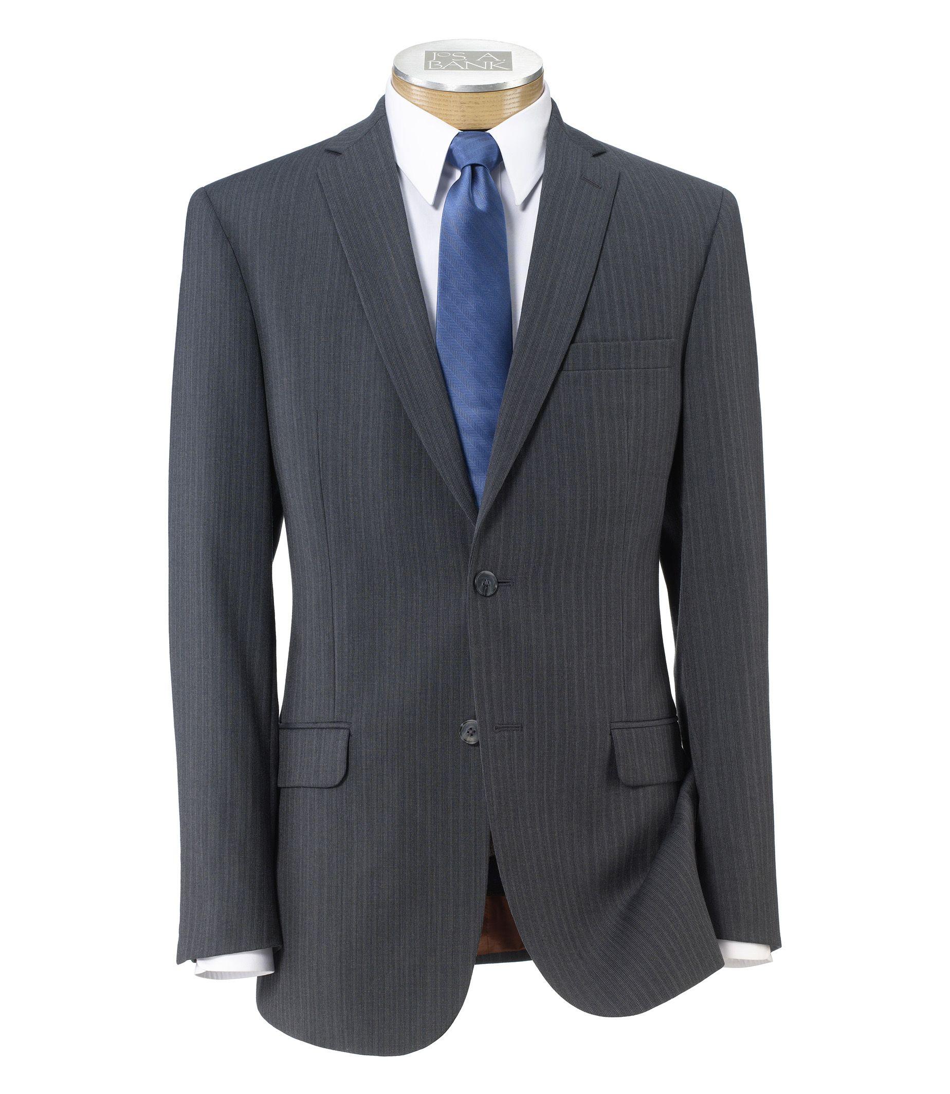 Joseph Slim Fit 2-Button Suits with Plain Front Trousers- Charcoal Dot Stripe