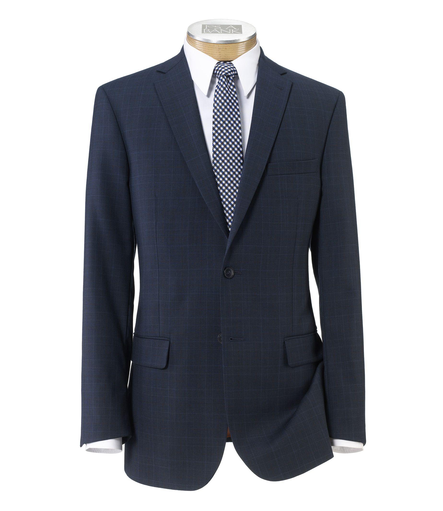 Joseph Slim Fit 2-Button Suits with Plain Front Trousers- Blue Plaid Rust Deco