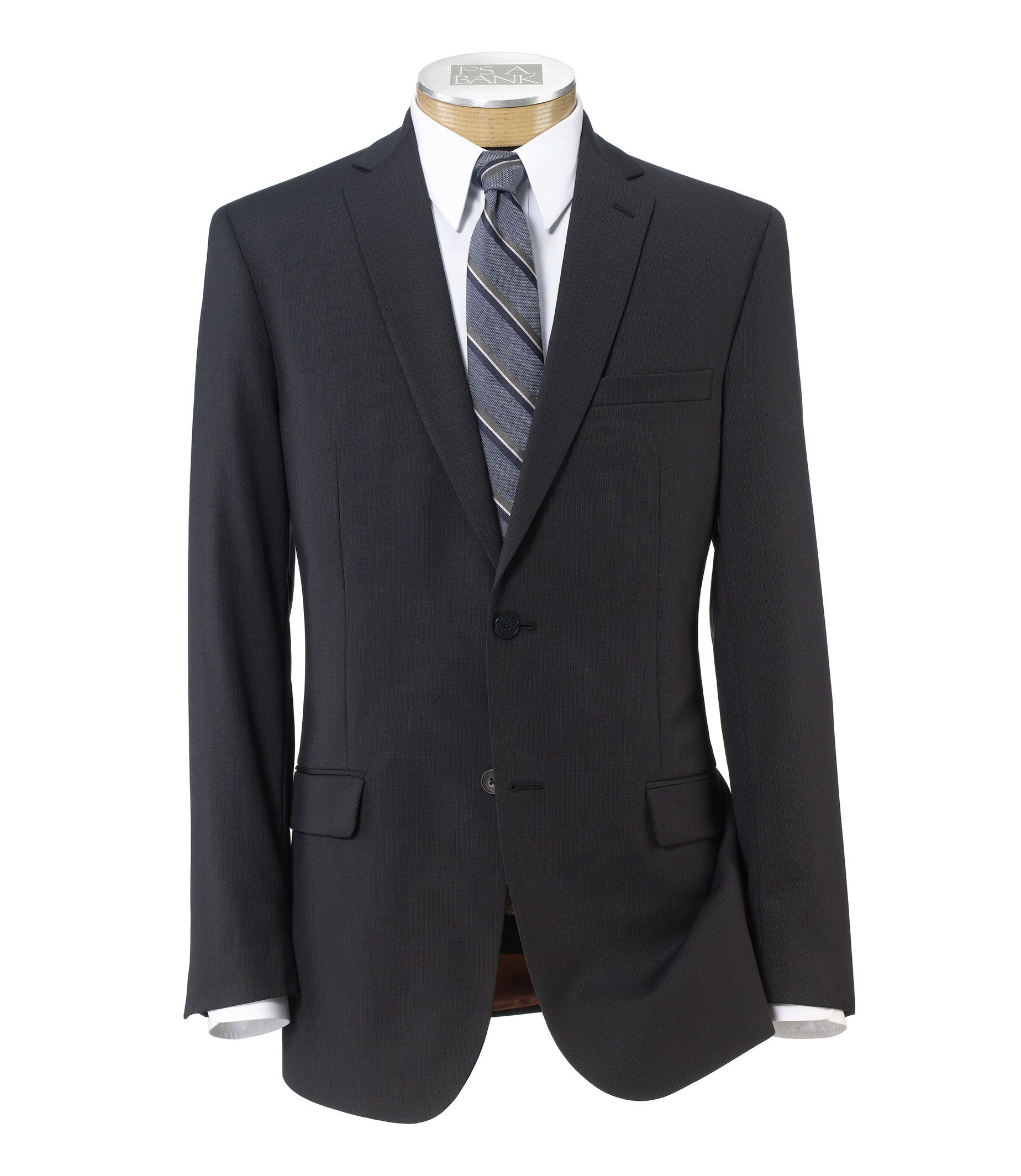 Joseph Slim Fit 2-Button Suits with Plain Front Trousers- Charcoal, Rust Stripe