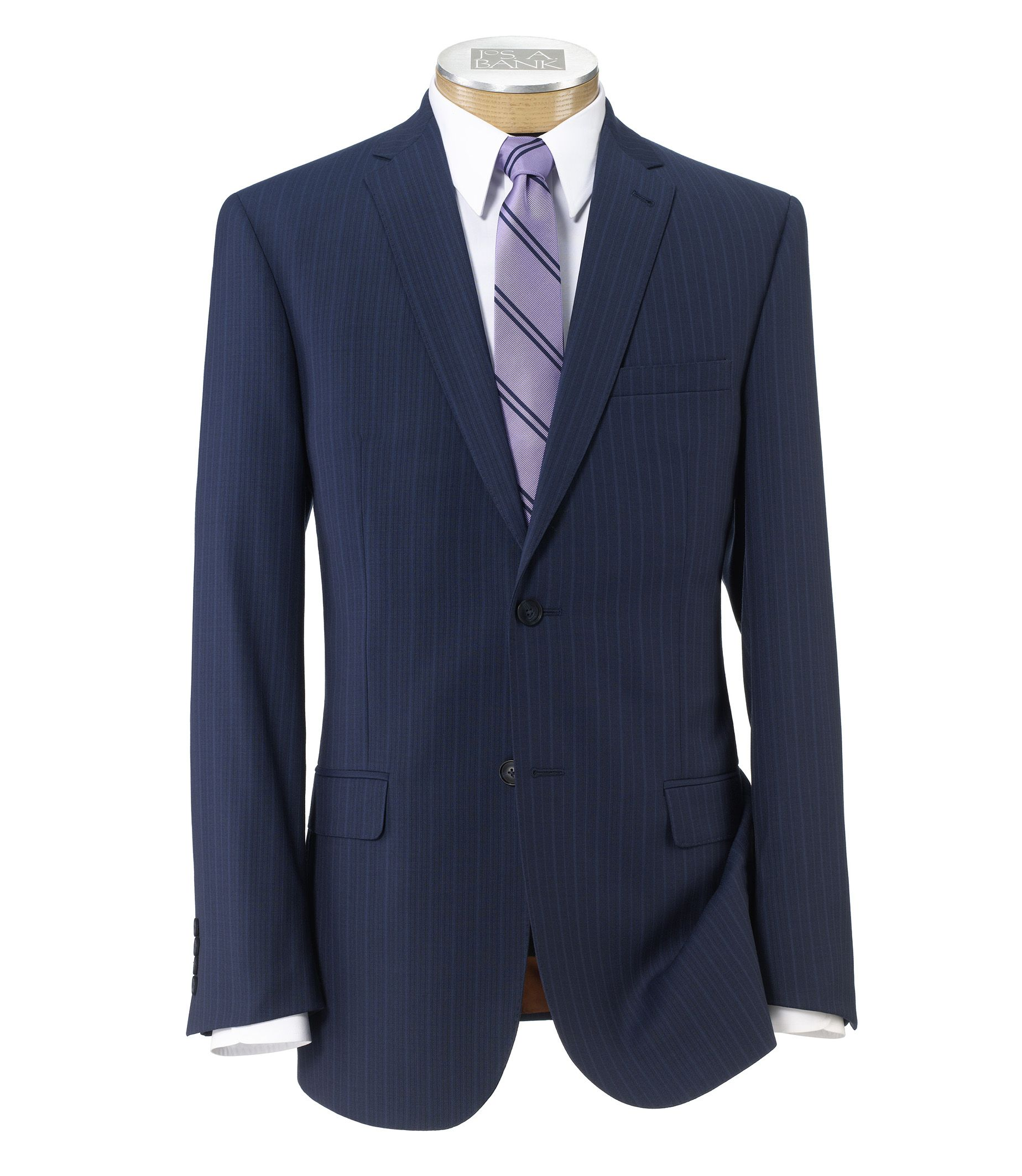 Joseph Slim Fit 2-Button Suits with Plain Front Trousers- Bright Blue Stripe