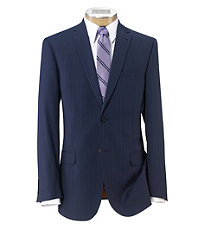 Joseph Slim Fit 2-Button Suits with Plain Front Trousers- Bright Blue Stripe