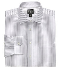 Traveler Spread Collar Traditional Fit Patterned Dress Shirt